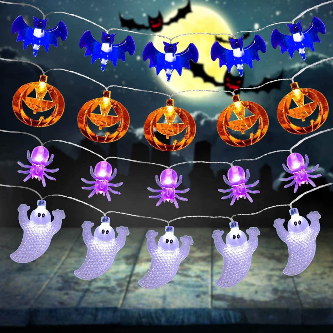 Diamerd 4 Pack Halloween Decoration Lights Halloween String Lights, Battery Operated Fairy Lights 10Ft Pumpkin Bat Ghost Twinkle String Lights for Indoor Outdoor Patio Garden Home Yard Decoration