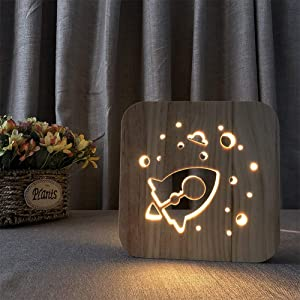 Rocket Night Light YKL World Wooden USB 3D Vision Table Lamp Bed Room Decor Birthday Christmas Gifts Toys for Kids Boys