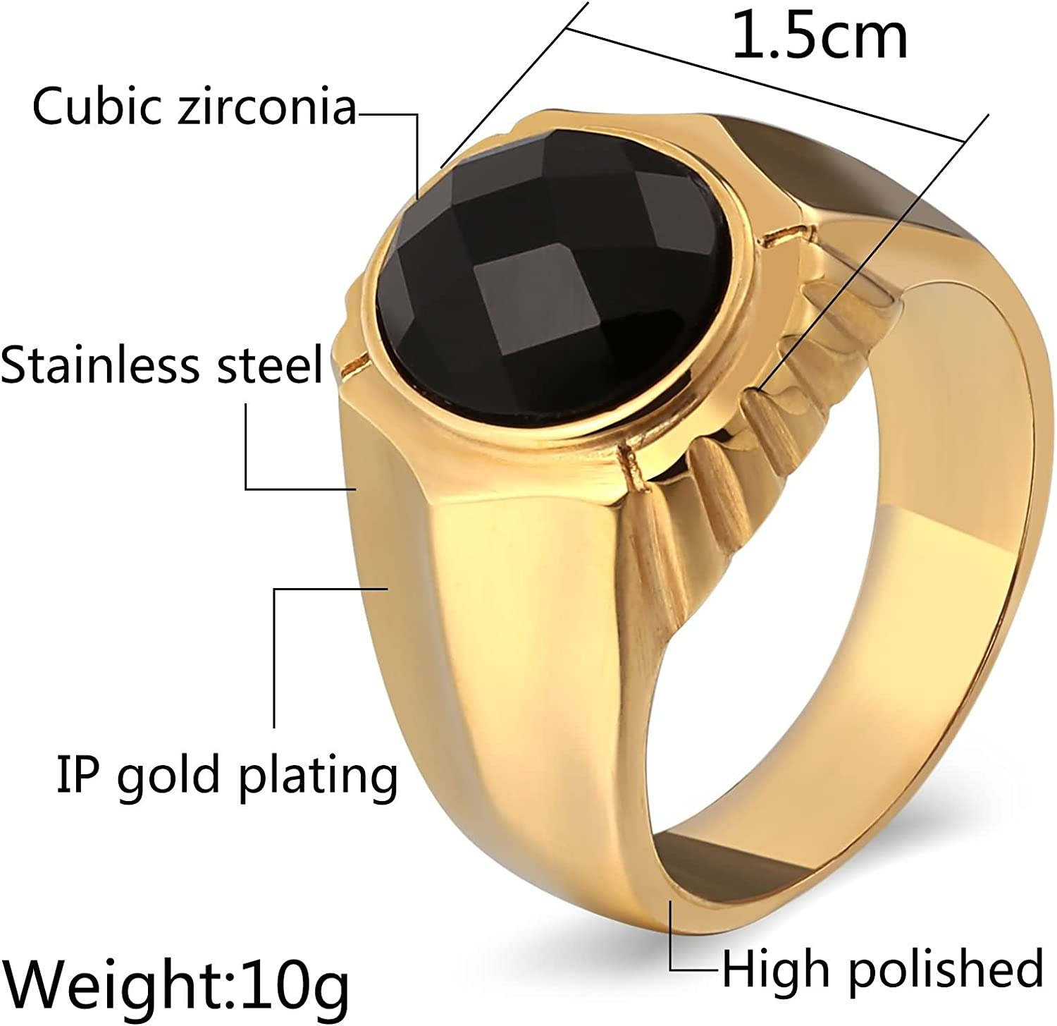 AMDXD Jewelry Gold Plated Wedding Rings for Men Round Crystal