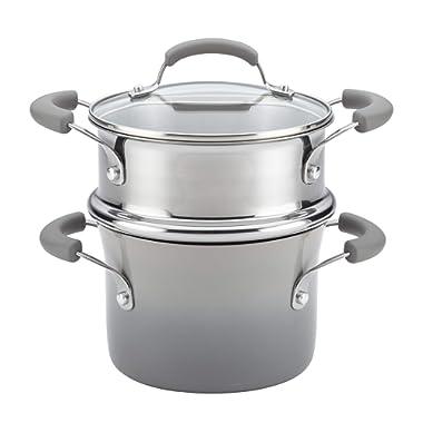 Rachael Ray Classic Brights Nonstick Sauce Pot and Steamer Insert Set, 3-Quart, Sea Salt Gray Gradient
