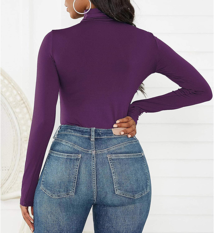 Zando Long Sleeve Bodysuit Turtleneck Women Jumpsuit Mock Neck Tops for Women Body Suit Shapewear Bodysuit