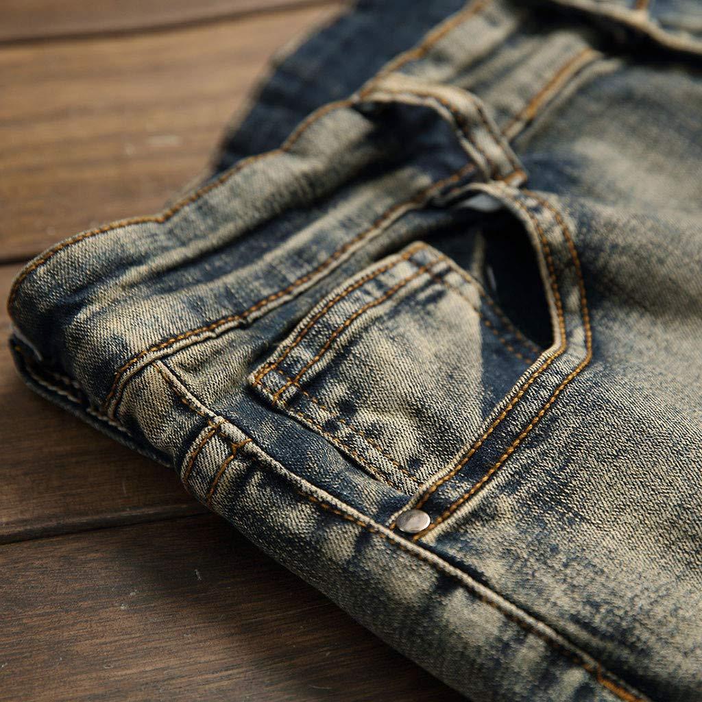 Wkgre Fashion Mens Slim Denim Pants Stretchy Ripped Skinny Biker Jeans Destroyed Taped Casual Holes Folded Stripes Pants