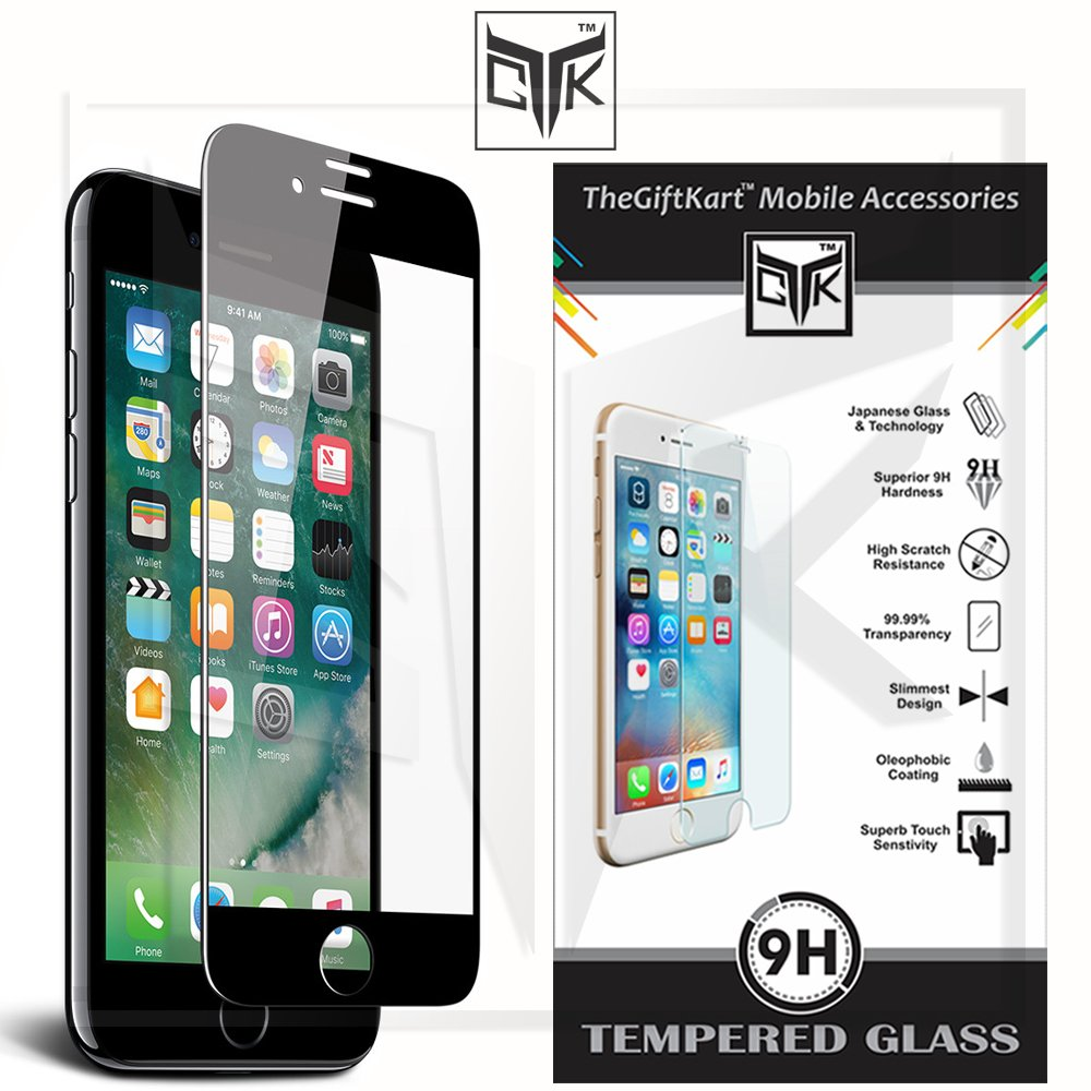 Tempered Glass Screen Protector For Apple Iphone 7 (4.7 Inch) (Black)