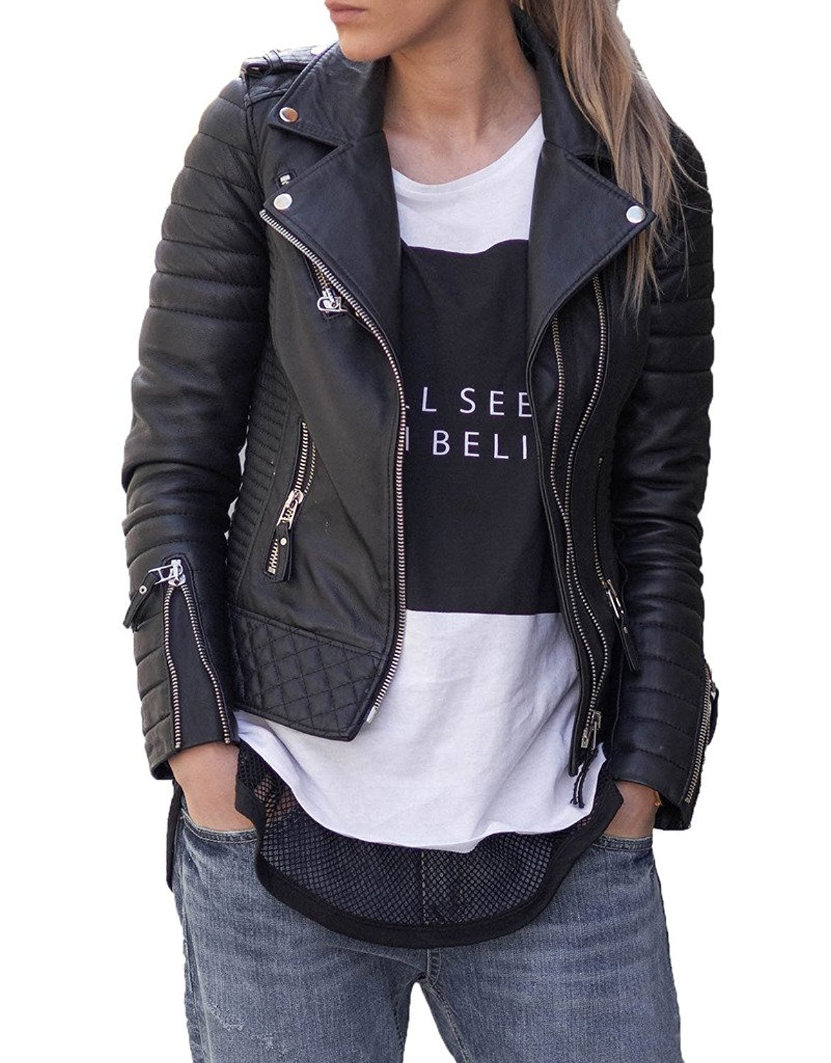 BENJER Skins Women's Lambskin Leather Bomber Motorcycle Jacket XX-Large Black