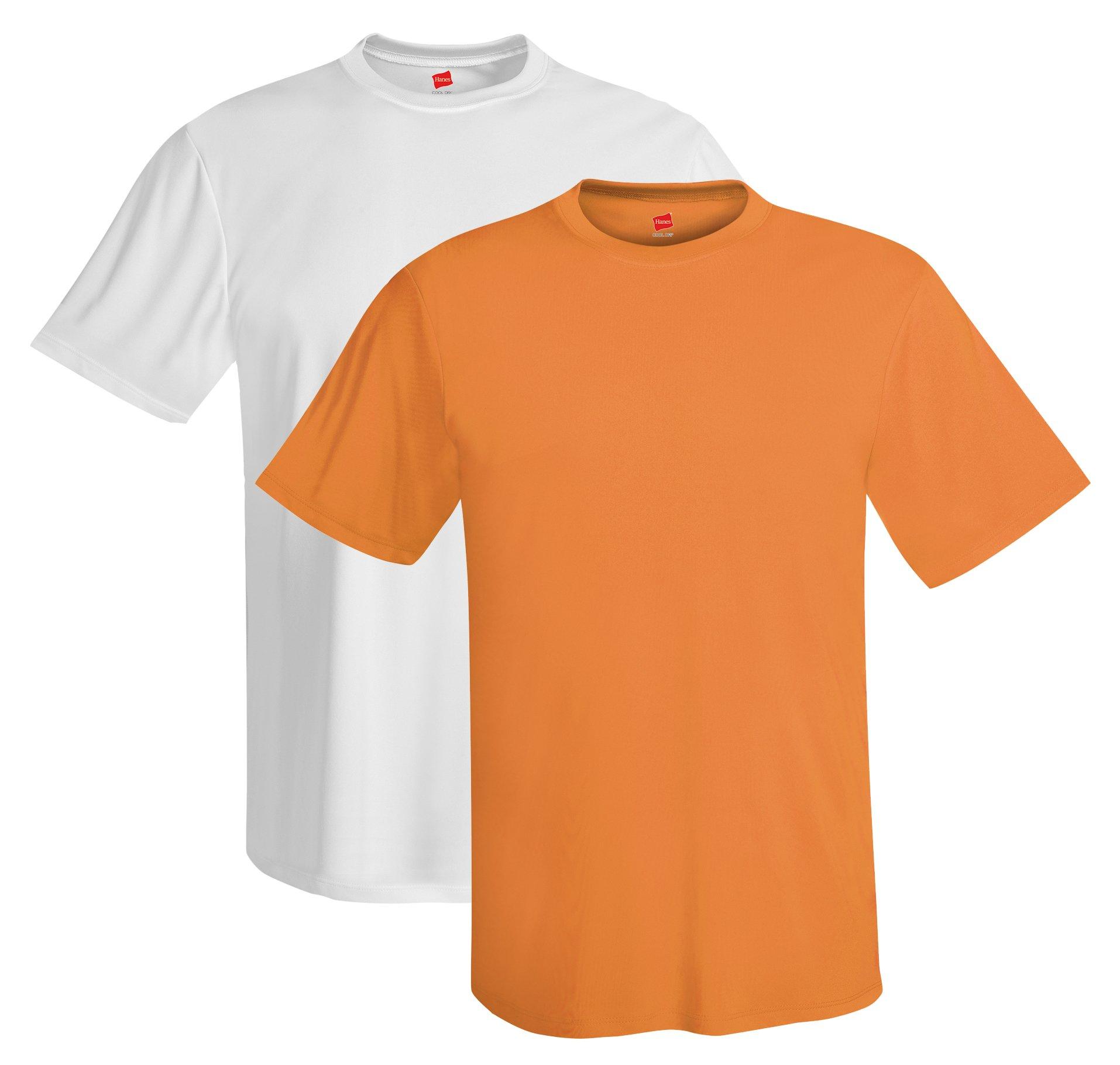 Hanes mens 4 oz. Cool Dri T-Shirt(4820)-Safety Orange/White-L