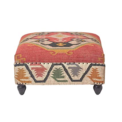 Magnificent Homescapes Upholstered Ottoman Pouffe End Table Or Footstool With Legs Kilim Red Handmade Solid Wood Frame With Traditional Hand Woven Wool Rug Cover Creativecarmelina Interior Chair Design Creativecarmelinacom