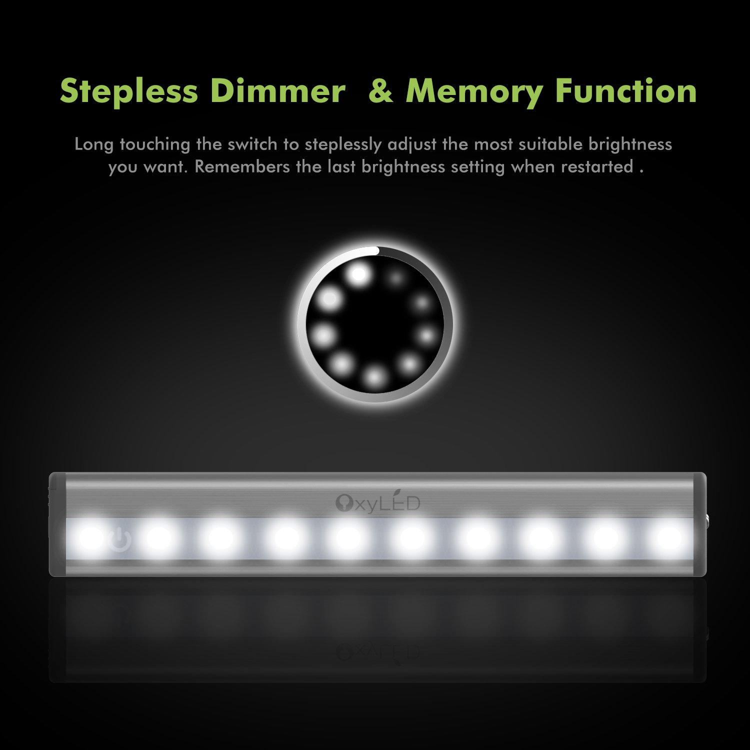 oxyled tap lights dimmable night light bar with touch sensor