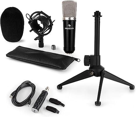 auna CM003BS Set de micrófonos estudio V1 - Micrófono condensador ...