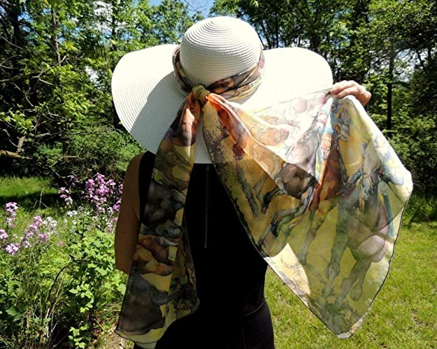 Horse Racing Scarf for Womens Derby Apparel 16 x 72 Poly Chiffon Wrap by Cheryl Chalmers