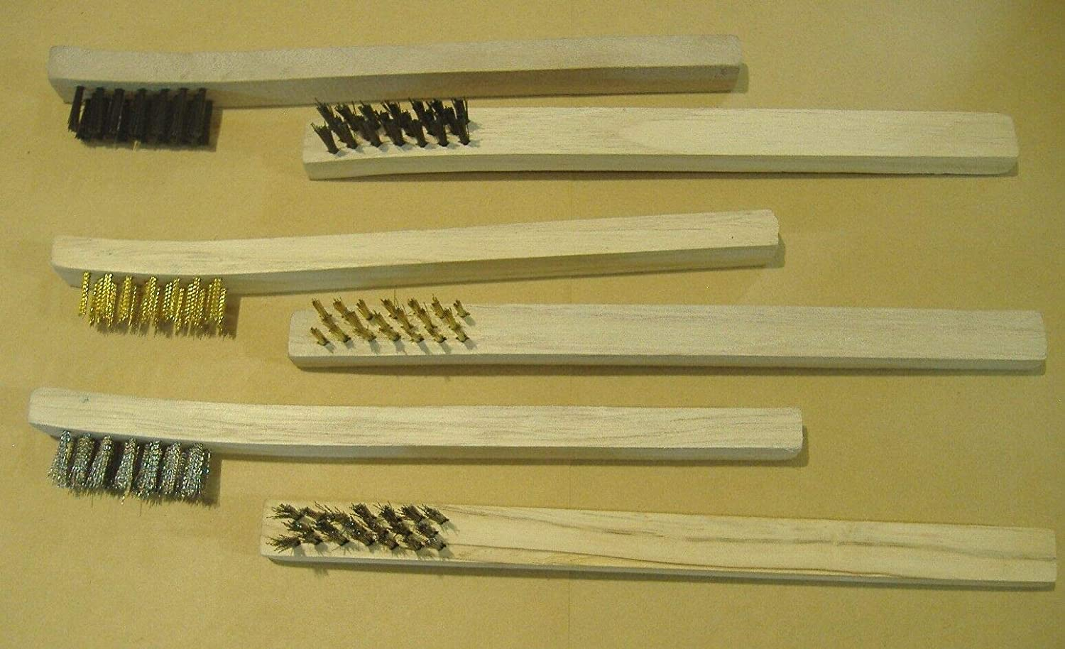 STAINLESS STEEL /& NYLON PARTS CLEANING WOOD LOT OF SIX DETAIL BRUSHES BRASS
