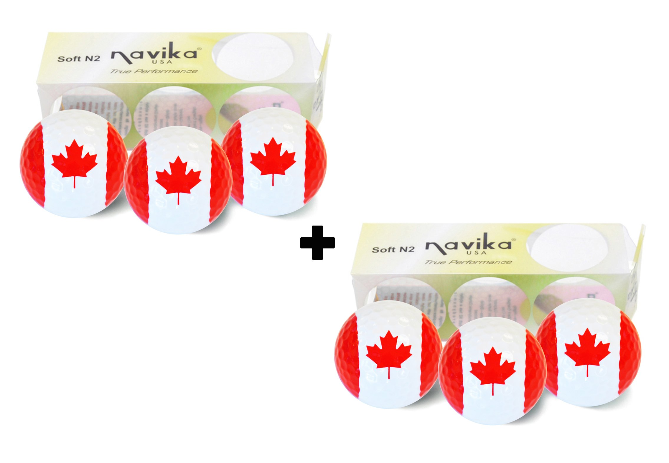 Navika GOLF BALLS- Canada Flag (2 sleeves of 3)- BLING BALLS! by