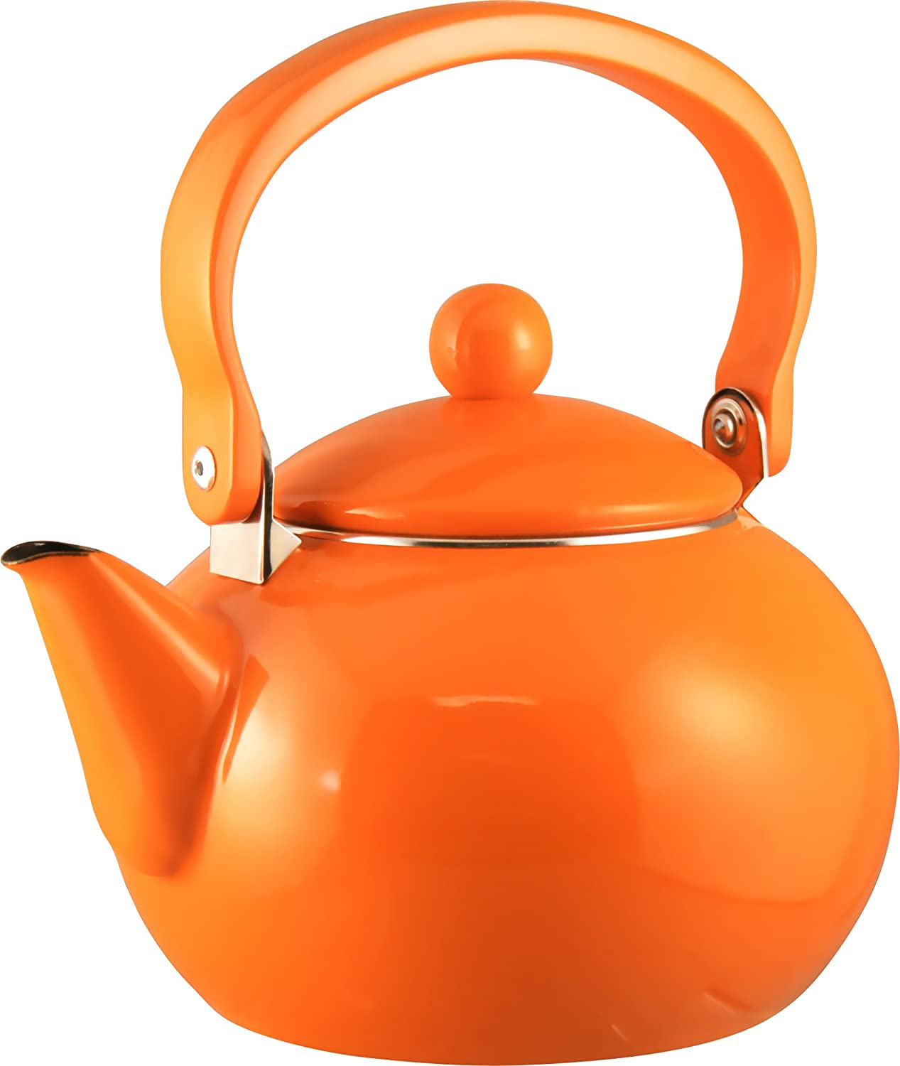 amazoncom calypso basics by reston lloyd enamelonsteel  - amazoncom calypso basics by reston lloyd enamelonsteel teakettlequart orange tea kettle orange kitchen  dining