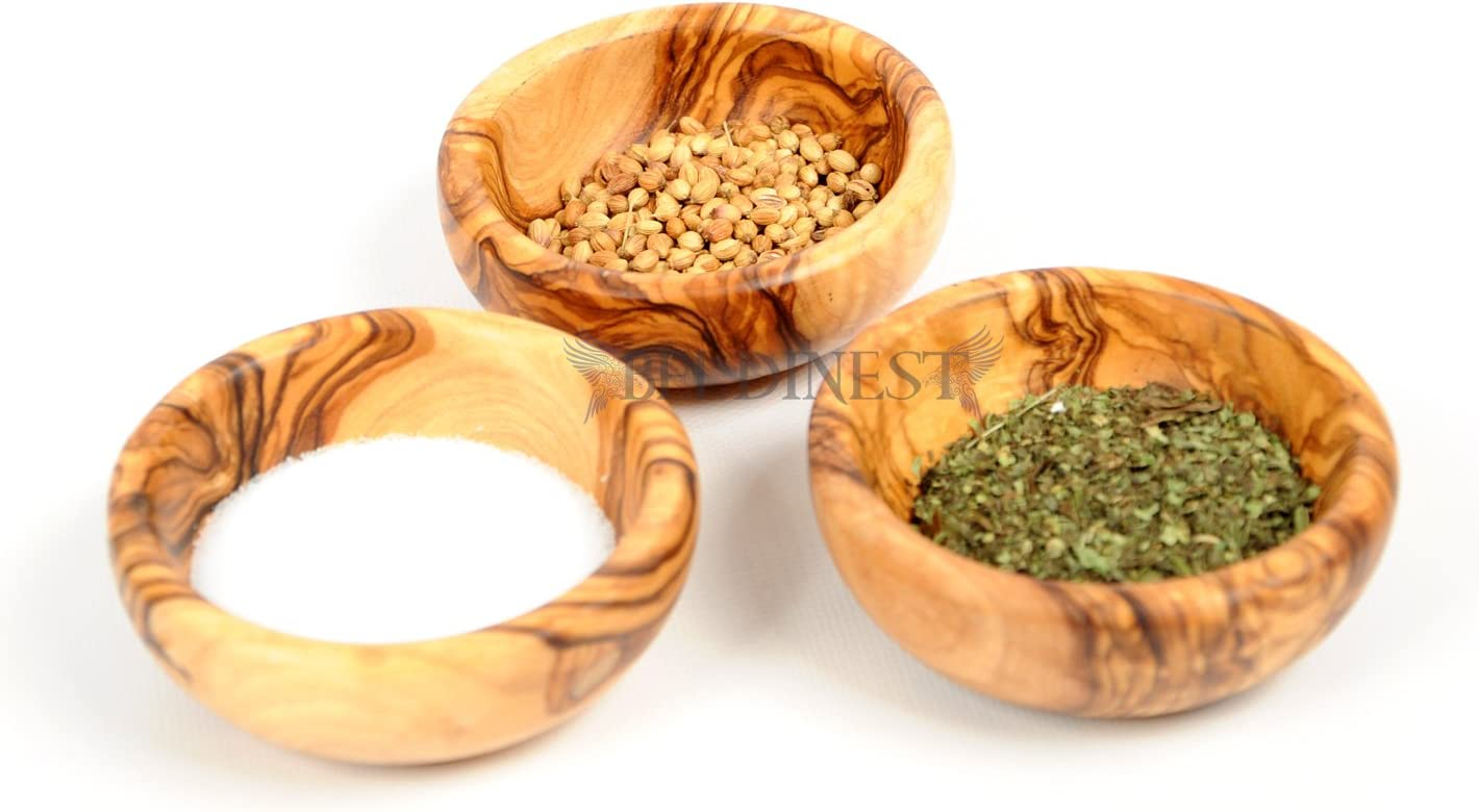 Amazon Com 3 Olive Wood Mini Spice Bowls Set Of 3 Handmade Bowls Handcrafted Wooden Mini Bowls Dining Entertaining