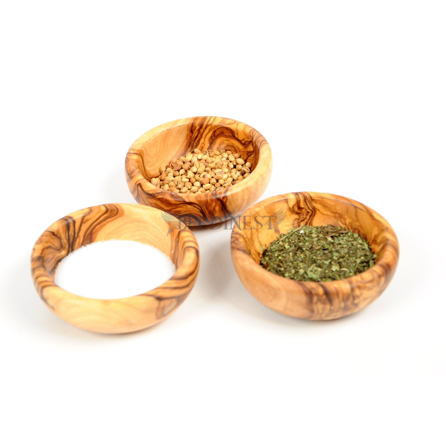 3 Olive Wood Mini Spice Bowls Set Of 3 Handmade Bowls Handcrafted Wooden Mini Bowls