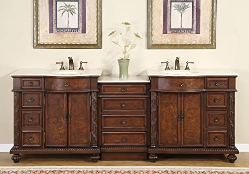 90″ Double Sink Crema Marfil Marble Top Bathroom Vanity Cabinet Lavatory Furniture 213CM