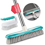 MEXERRIS Scrub Brush with Floor Brush Long Handle Combo Cleaning Kits, Stiff Bristles Durable Scrubbing Brushes for…