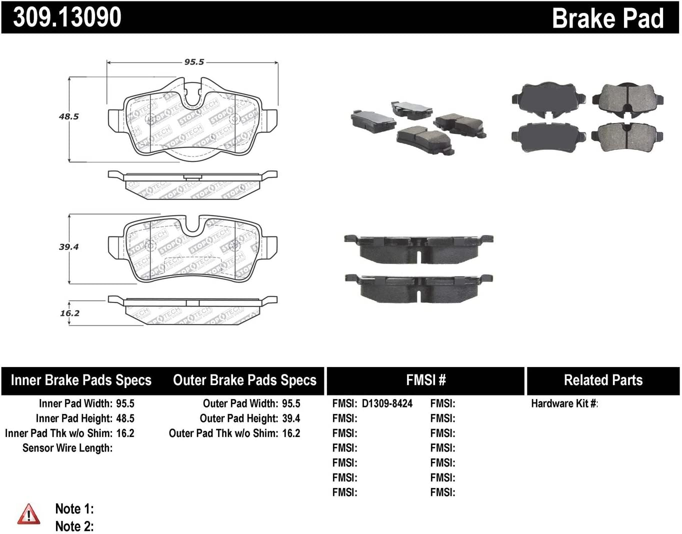 StopTech 309.13090 Street Performance Rear Brake Pad