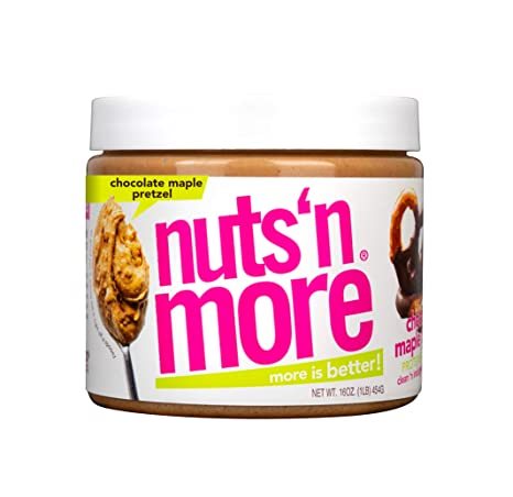 Nuts 'N More Chocolate Maple Pretzel Peanut Butter Spread, All Natural Keto Snack, Low Carb, Low Sugar, Gluten Free, Non-GMO, High Protein Flavored Nut Butter (16 oz Jar)