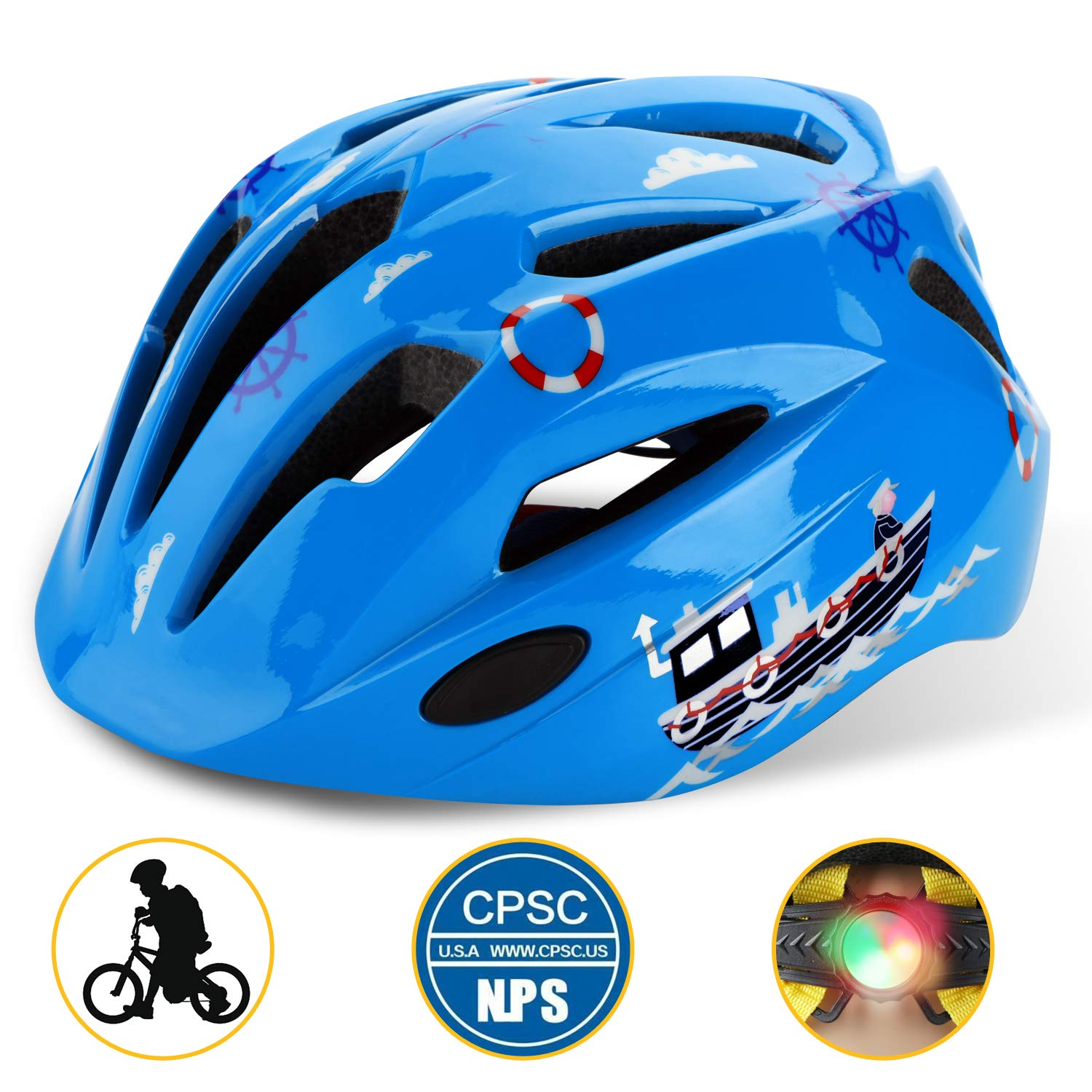 Shinmax Kids Bike Helmet, CPC Certified Children Safety Helmet with LED Light for Boys&Girls Cycling Skating Riding Scooter(Blue2) by Shinmax