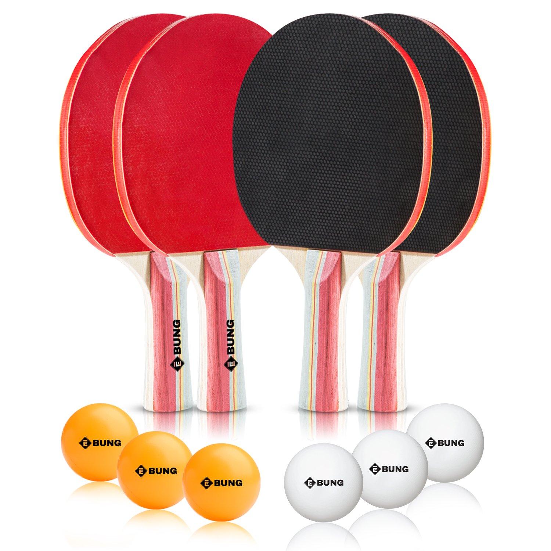 Ebung Table Tennis Set – 4 Table Tennis Paddles (2 Black, 2 Red), 3 Orange Balls & 3 White Balls – Allround Blade – Ergonomic Flared Handle – Ideal Tennis Table Set for Professional Grade Training
