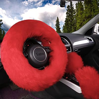 Yontree Fashion Fluffy Steering Wheel Covers for Women/Girls/Ladies Australia Pure Wool 15 Inch 1 Set 3 Pcs (Red): Automotive