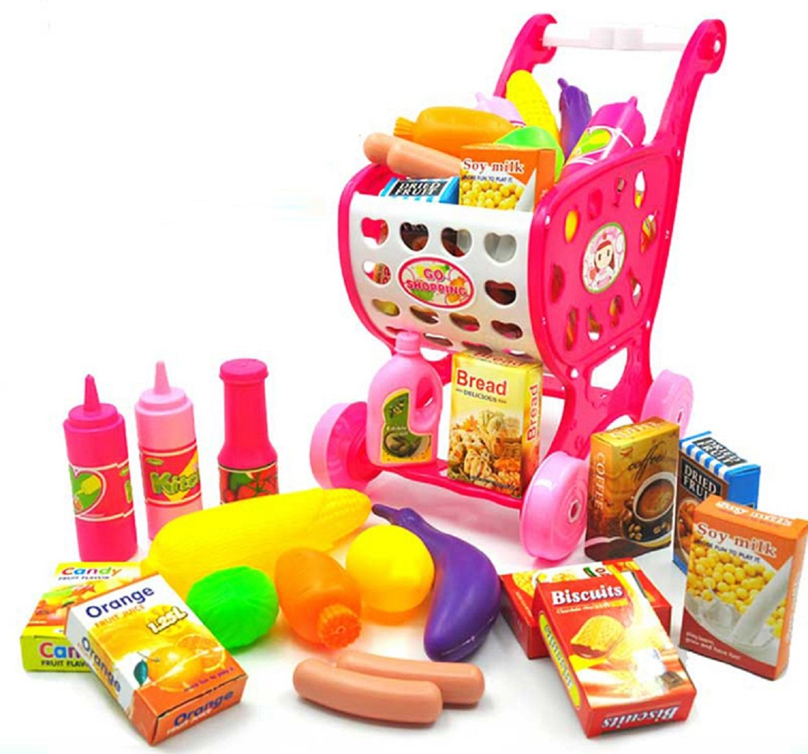 zhenyu Kids Supermarket Shopping Cart with Food Vegetables Cooking Set Pretend Play Kitchen Toys for Girls and Boys Educational Toy Gift (pink)