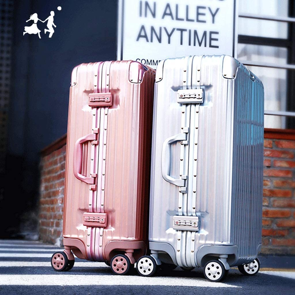 24 Inch Aluminum Frame Password Leather Case Retractable Large Capacity Anti-Collision Suitcase Color : Blue, Size : 20 inches HUANGA Luggage Trolley Case