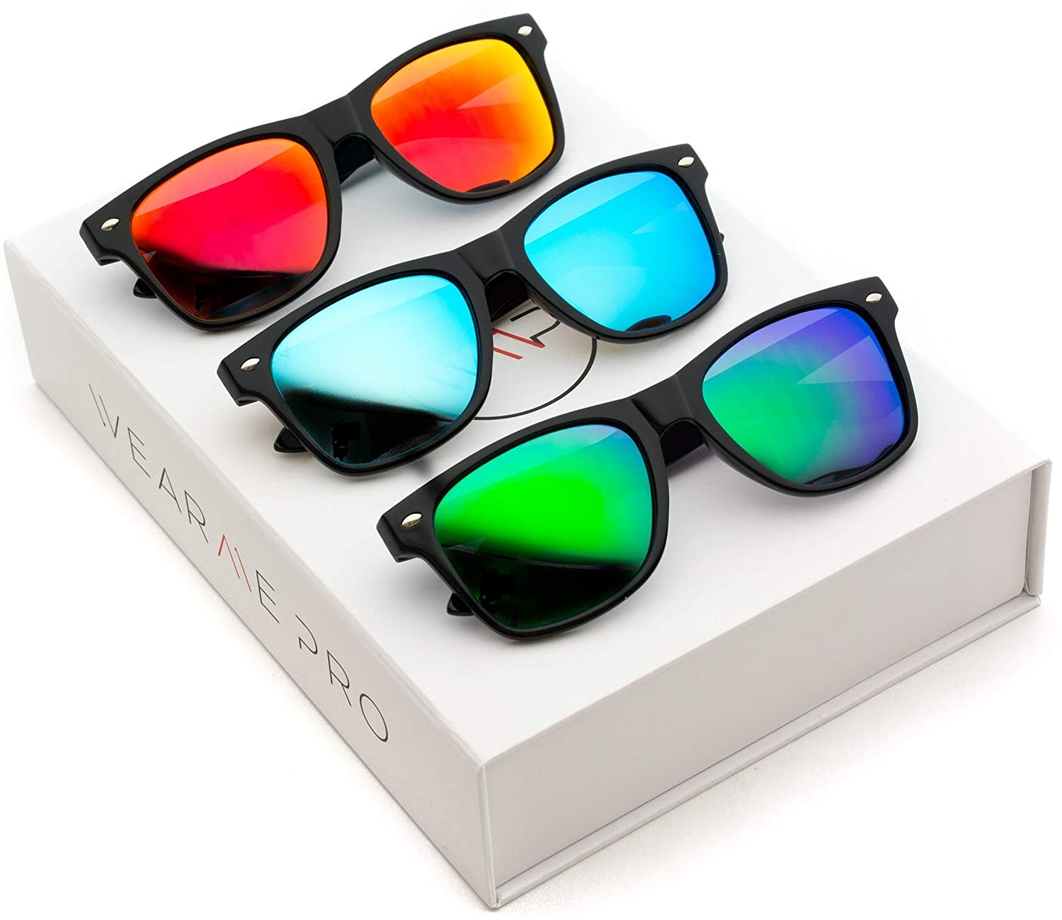 24d5a9efff2 Amazon.com  Polarized Flat Mirrored Reflective Color Lens Large Horn Rimmed  Style Sunglasses (Box  Mirror Blue Mirror Red Mirror Green)  Clothing