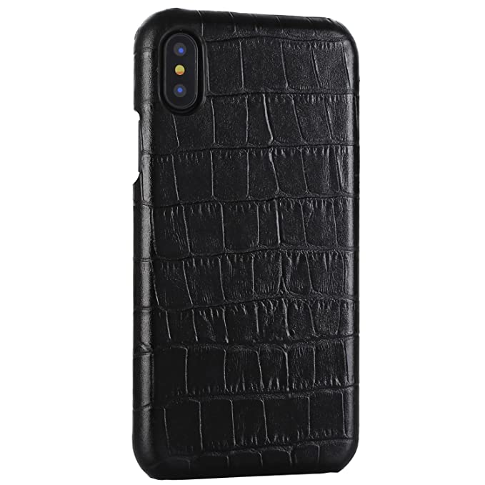 finest selection 44f68 da7cf iPhone X/XS Genuine Leather (Crocodile Texture) Case Cover Real Leather  Alligator Skin Texture[Ultra Slim Handmade] Back Cover for iPhone X/XS  5.8inch ...
