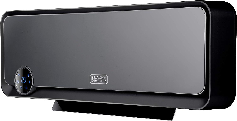 Black+Decker BXWSH2000E Calefactor cerámico de pared apto para baños con termostato electrónico, programador, temporizador y mando a distancia, pantalla LED, sistema PTC y oscilación automática