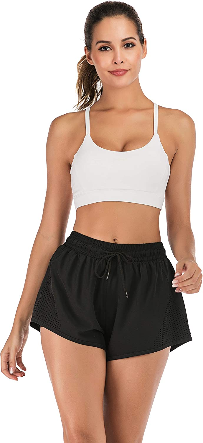 Womens Sports Running Shorts Breathable Double Layer Short with Pockets Yoga Gym Shorts
