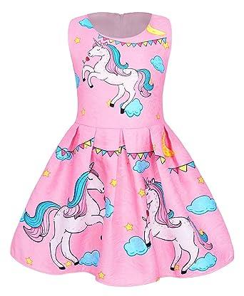 Amazon.com: Cotrio vestido de unicornio arco iris para niñas ...