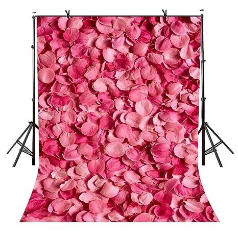 Amazoncom Vvm 5x7ft Rose Backdrop Pink Roseleaf Floral Wall For