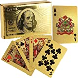 Creative and Beautiful Gold Foil Playing Cards Waterproof Plated Poker 100 Dollar Pattern Design