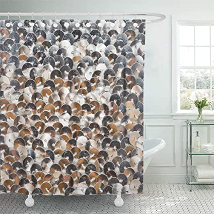 WENEOO LA Shower Curtain Set Waterproof Adjustable Polyester Fabric Metal Sequins Brazil Carnival Dress Black Shiny