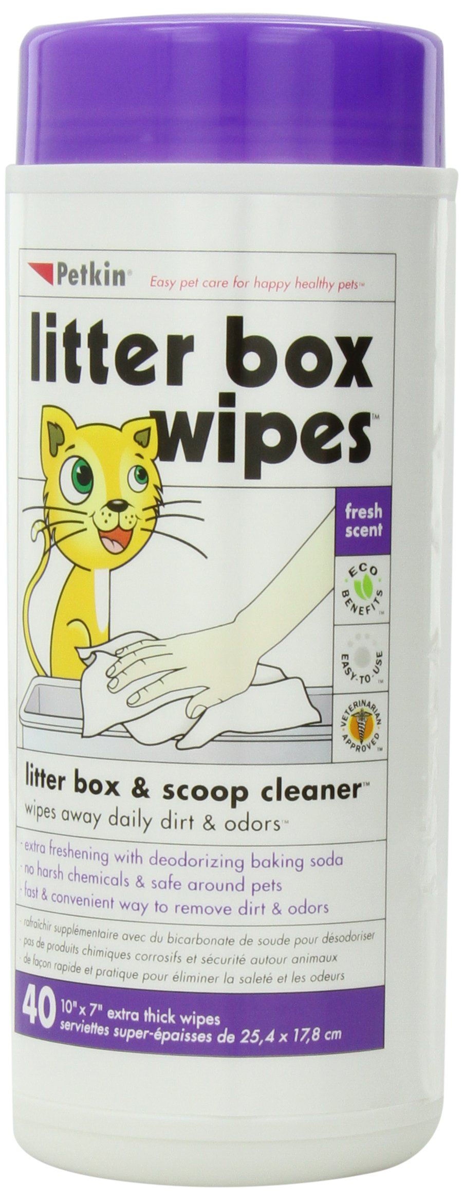 Petkin Litter Box Wipes, 40-Count (Pack of 4)