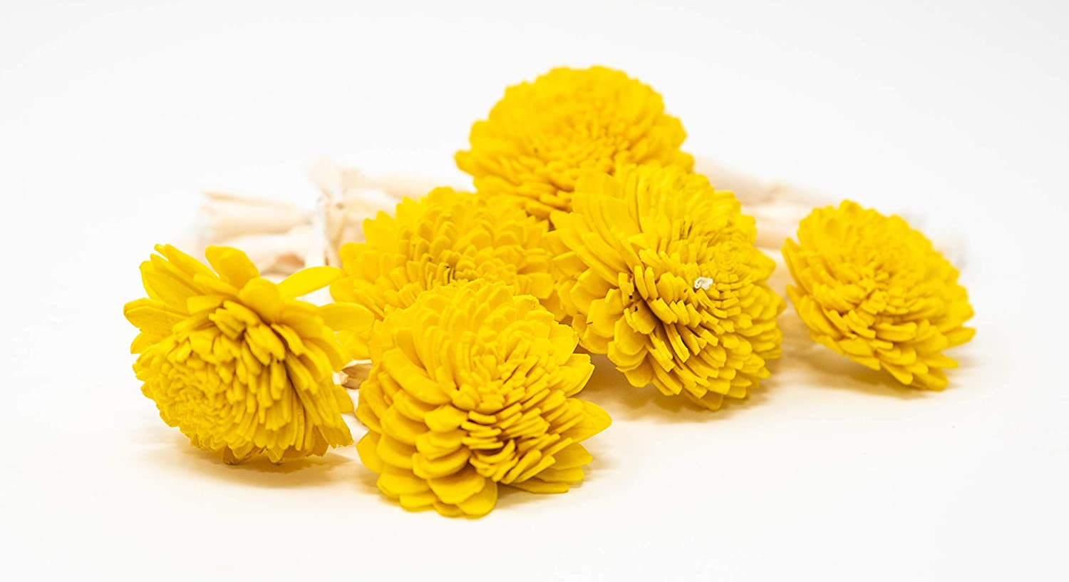 Desi Favors Set of 6 Lilly with Yellow Chamanthi/chrysanthamums at The end - 1 Foot Each - Diwali/Pooja Backdrop Decor