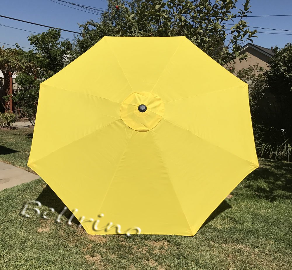 """BELLRINO DECOR Replacement Yellow Strong and Thick Umbrella Canopy for 9ft 8 Ribs Yellow (Canopy Only) - Replacement umbrella canopy for 9ft 8 ribs umbrella. (Canopy only) Make sure your umbrella is 8 ribs/8 panels ribs length 52"""" to 53"""" 220D Polyester with fade resistant and UV30+ - shades-parasols, patio-furniture, patio - 719ZearRQsL -"""
