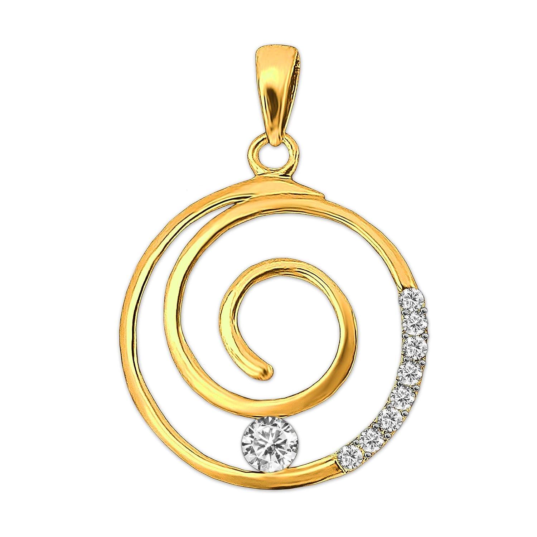 Clever Schmuck Goldener Anh/änger Spirale /Ø ca viele Zirkonia weiss gl/änzend 333 GOLD 8 KARAT 15 mm rund Schnecke