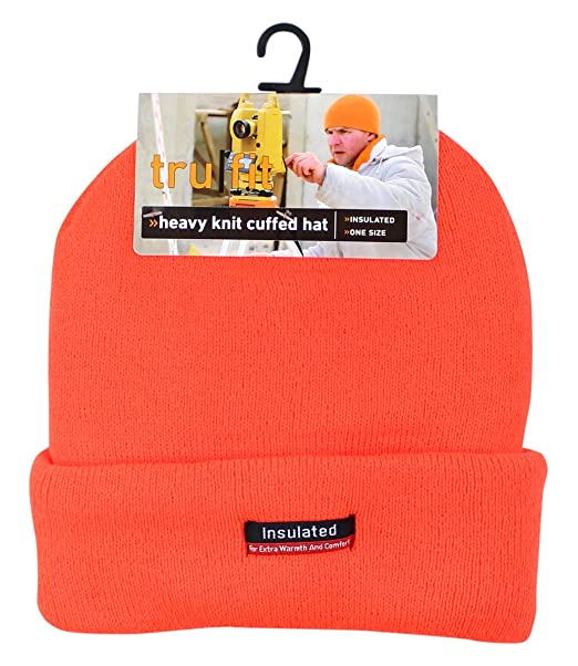 a85ca10bf4b Image Unavailable. Image not available for. Color  TruFit Men s Orange One  Size Fits Most Heavy Knit Beanie ...