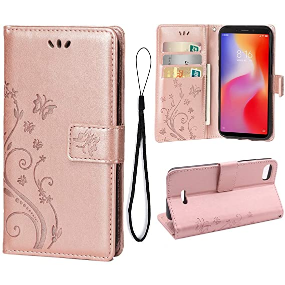 new arrival 8aabb 4200b Wallet Case for Xiaomi Redmi 6A {Not for Redmi 6}, 3 Card Holder Embossed  Butterfly Flower PU Leather Magnetic Flip Cover for Xiaomi Redmi 6A(Rose ...