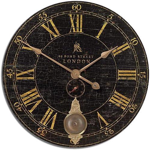Uttermost Antique Brass Wall Clock in Black