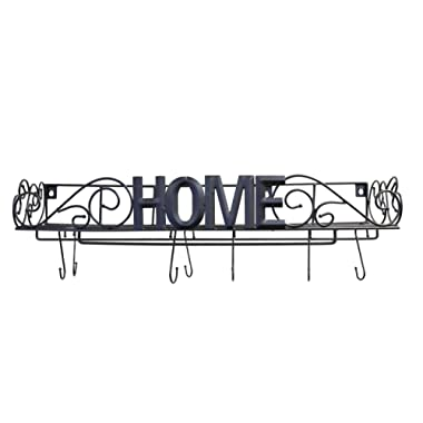 JMIles UH-PR240 Decorative Hanging Pot Rack for Kitchen Organization - Wall Mounted Iron Pot Rack with  HOME  Lettering Across Front - Hooks and Standing Lid Holders Included