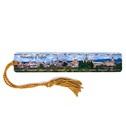 b9d5dc5126327 University of Oxford Color Photograph on Handmade Wooden Bookmark with  Tassel