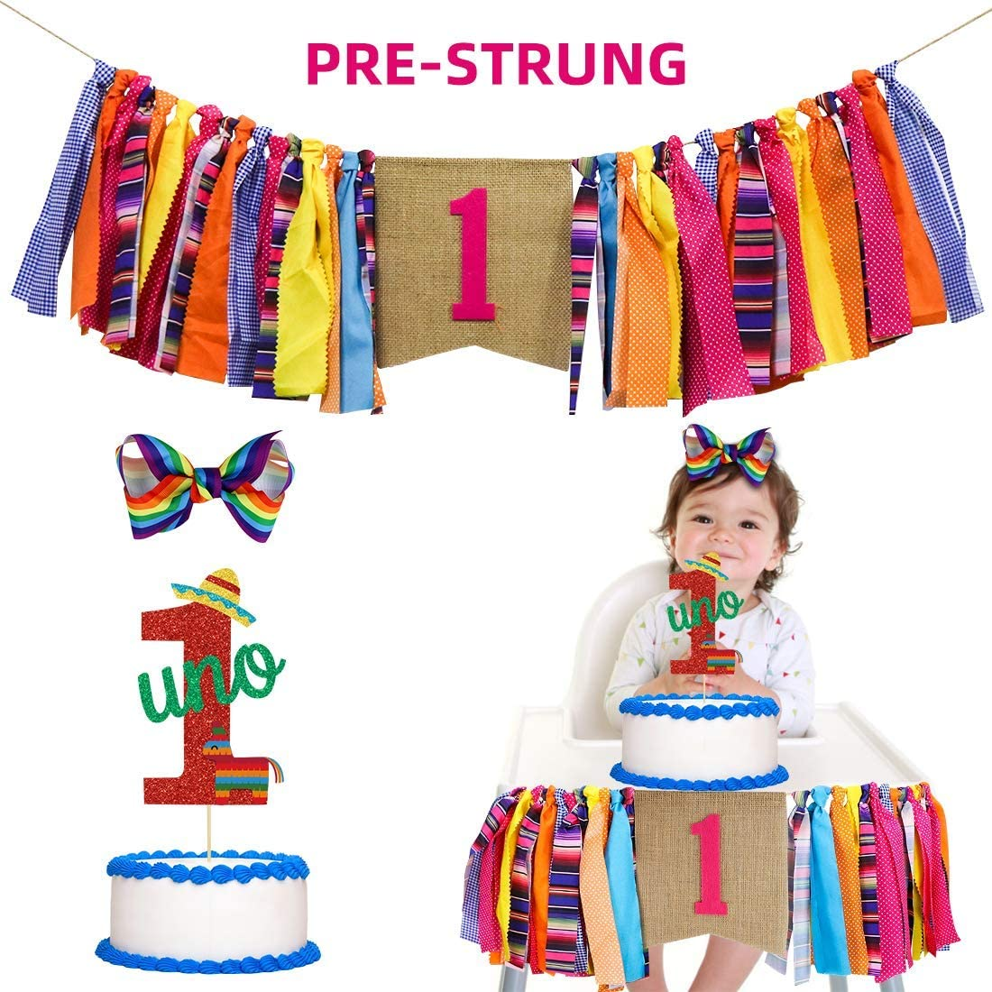 UTOPP Fiesta First Birthday Party Banner Mexican 1st Birthday Highchair Banner UNO Glitter Cake Topper and hair bow for Cactus Taco Theme cake smash photo prop Baby Shower Party Decorations