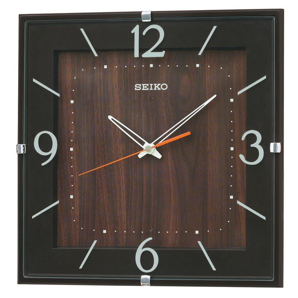 セイコー クロック 掛け時計 電波 アナログ 四角型 濃茶 KX398B SEIKO B00OCDDAK8ブラウン