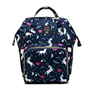 Waterproof Diaper Bag Backpack Multi-Function Large Capacity Travel Backpack Nappy Bags for Baby with Unicorn Cloud Star Pattern (Dark Blue)