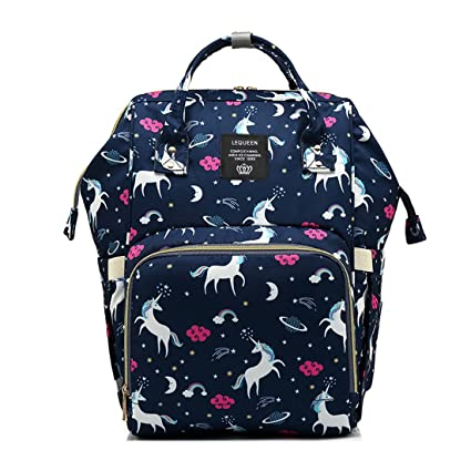 82287d1f969a Amazon.com   Waterproof Diaper Bag Backpack Multi-Function Large Capacity  Travel Backpack Nappy Bags for Baby with Unicorn Cloud Star Pattern (Dark  Blue)   ...