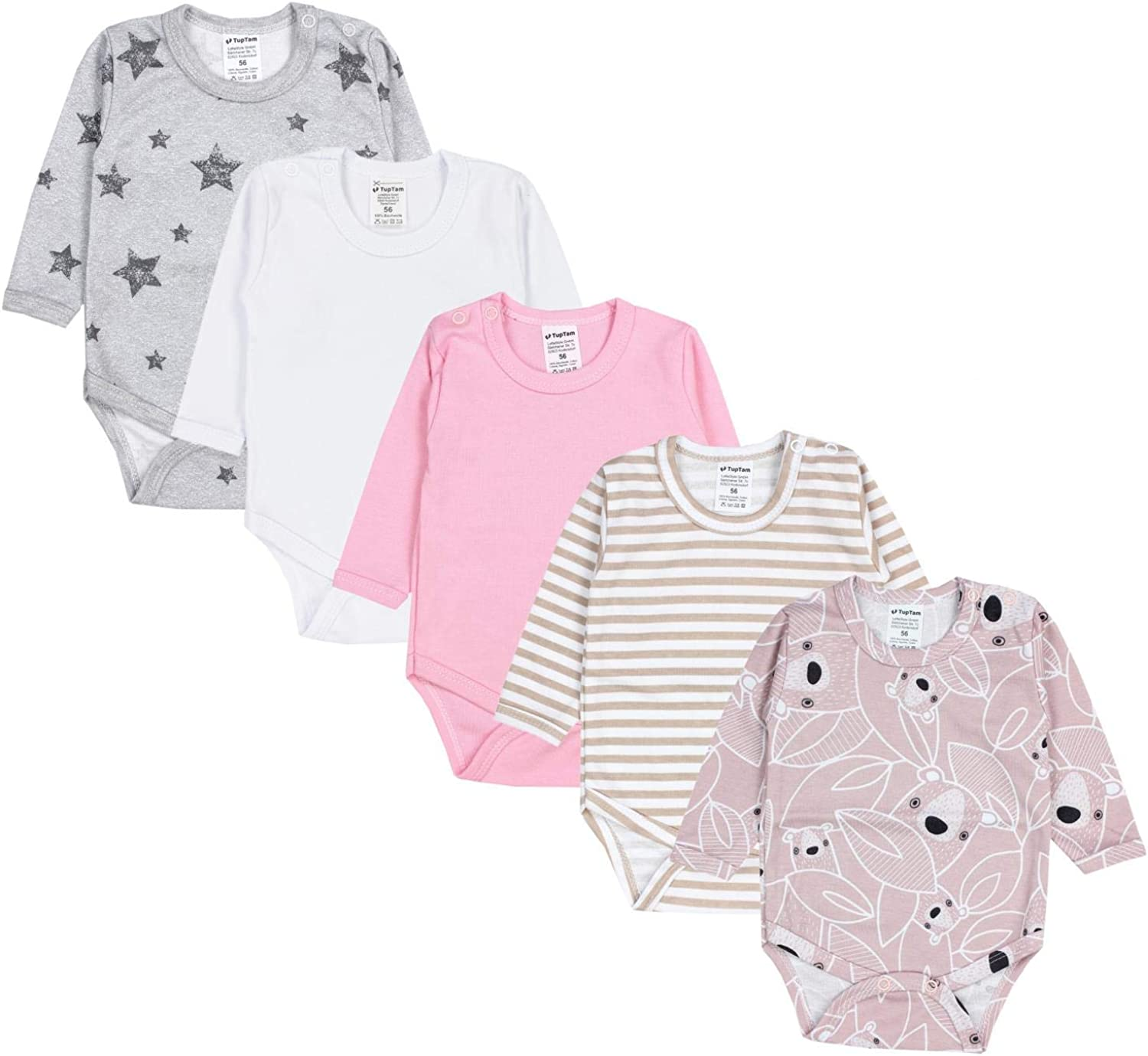 TupTam Baby Girls Bodysuits Long Sleeve Plain Pack of 5