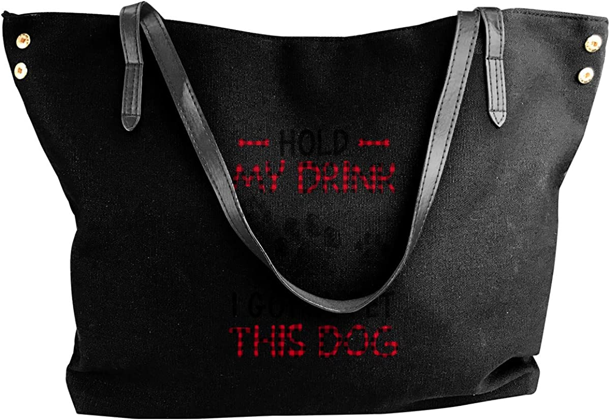 Hold My Drink I Gotta Pet This Dog Tote Bags Canvas Shoulder Satchel Purse Bag